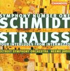 Schmidt: Symphony No 1;  Strauss / Järvi, Detroit SO