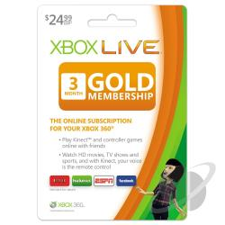Xbox Live 3 Month Gold Card XB360 Cover Art