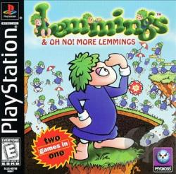 Lemmings and Oh No! More Lemmings PS Cover Art