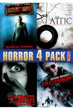Horror 4 Pack, Vol. 1: Midnight Movie/The Attic/Carver/Outrage Born in Terror DVD Cover Art