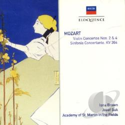 Asmif / Marriner / Brown / Mozart / Suk - Mozart: Violin Concertos Nos. 2 & 4; Sinfonia Concertante In E Flat Major CD Cover Art