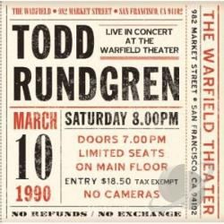 Rundgren, Todd - Live At The Warfield 10th March 1990 CD Cover Art