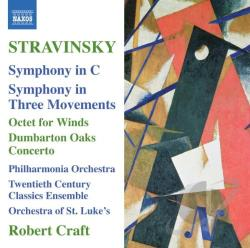 Craft / PAO / Stravinsky / Twentieth Century Ens - Stravinsky: Symphony in C; Symphony in Three Movements; Octet for Winds; Dumbarton Oaks CD Cover Art
