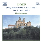 Haydn / Kodaly Quartet - Haydn: String Quartets, Opp. 2/3, 2/5, 3/1, 3/2 CD Cover Art