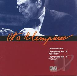 Klemperer, Otto - Mendelssohn: Symphonies Nos. 3 Scottish & 4 Italian CD Cover Art