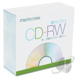 Cdrw-700mb - CD-RW - 700MB, 10 Pack Slim Cover Art