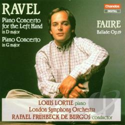 De Burgos / Lso / Ravel - Ravel: Piano Concerto for the Left Hand in D major, Piano Concerto in G major; Faure: Ballade, Op. 19 CD Cover Art