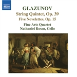 Fine Arts Quartet / Glazunov / Rosen - Glazunov: String Quintet; Five Novelettes CD Cover Art