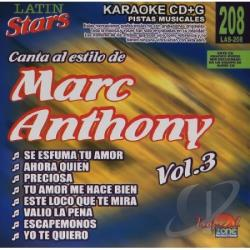 Anthony, Marc - Vol. 3 - Karaoke Latin Stars CD Cover Art