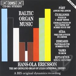 Ciurlionis / Part / Vasks / Zwmzaris - Baltic Organ Music CD Cover Art
