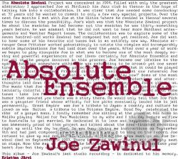 Absolute Ensemble / Zawinul, Joe - Absolute Zawinul CD Cover Art
