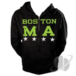 Boston, Ma Star Zip Hoodie Black CLOTH Cover Art